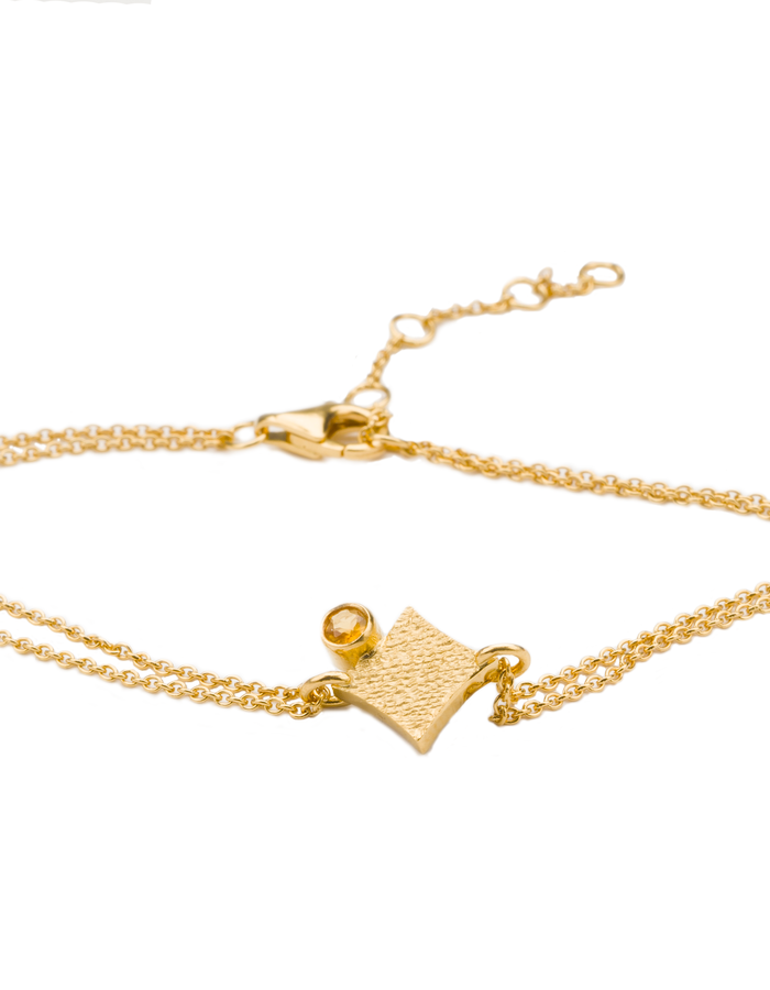 KGW by S.B. - 24k gold plated sterling silver double chain bracelet with Citrone