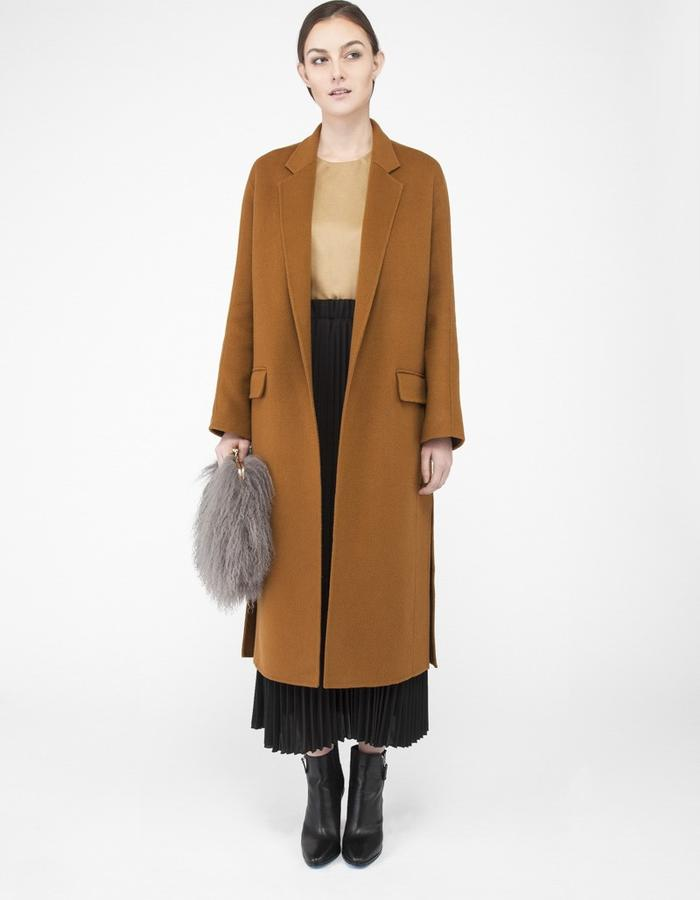 Mute by JL camel coat with slit 1