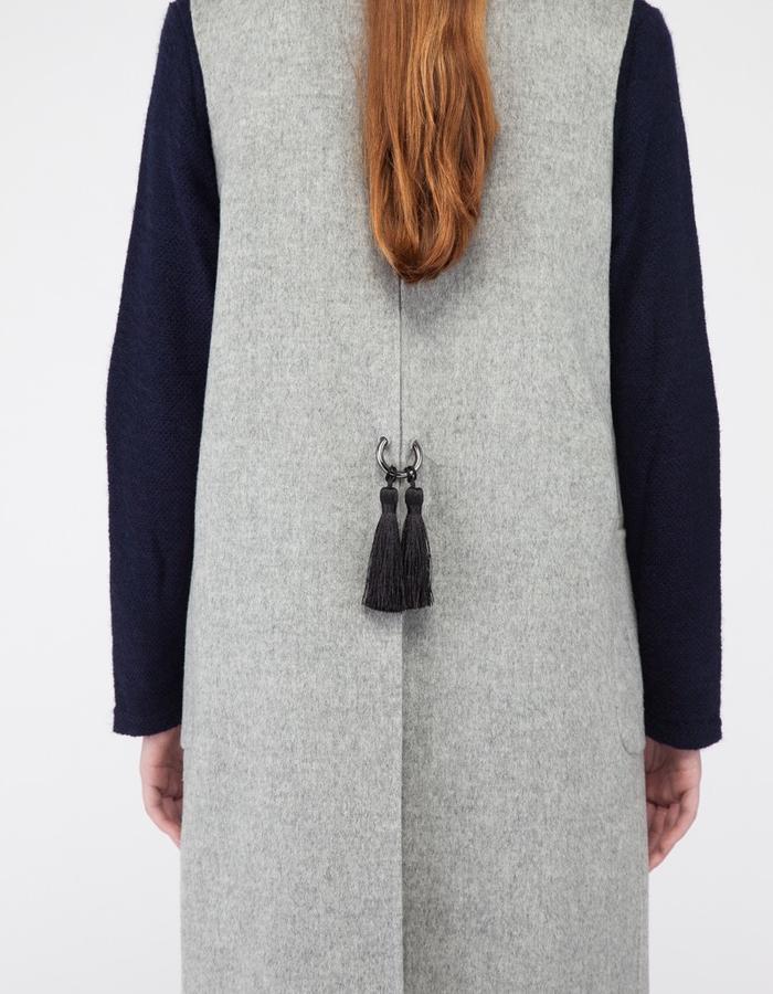 Mute by JL signature 2-piece handmade cashmere coat vest JL001 tassel detail