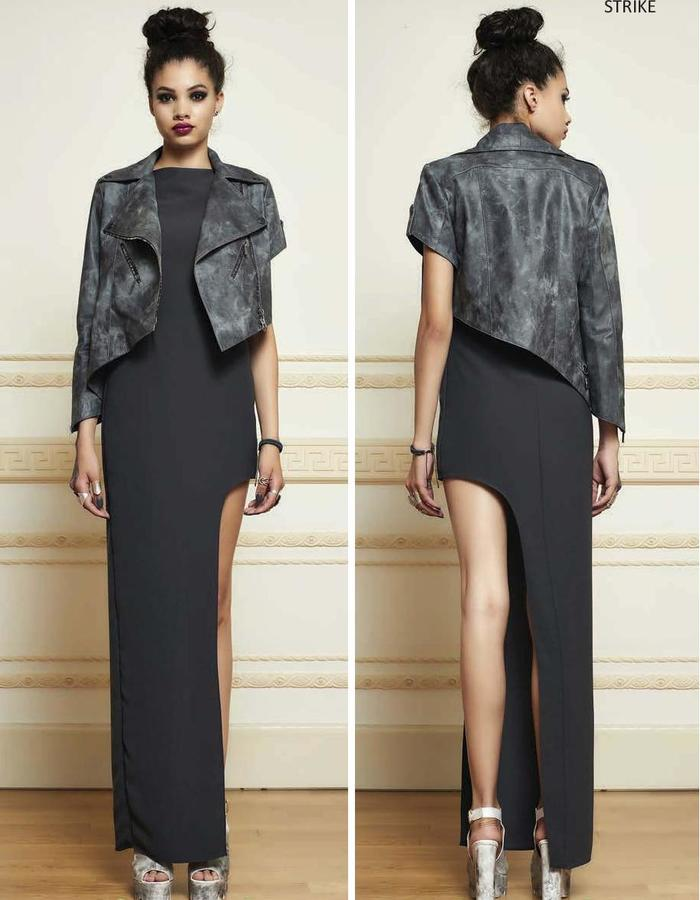 haifa fahad asymmetric leather biker jacket