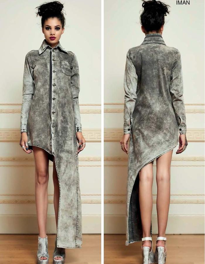 Denim asymmetric shirt dress haifa fahad