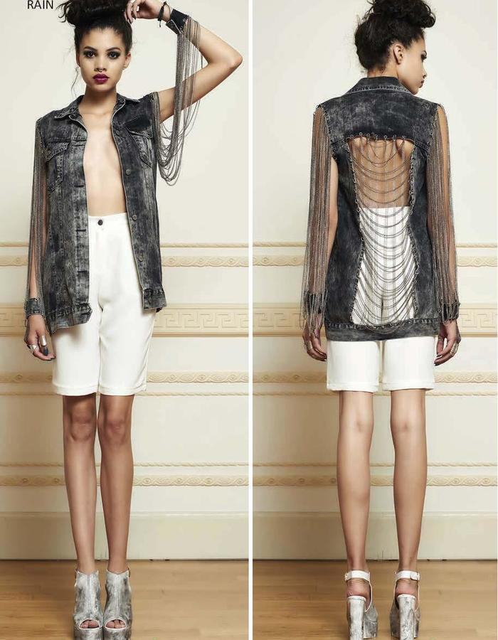 Haifa fahad best denim jacket with chains