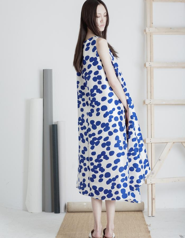 Mute by JL 2015 Spring polka dot silk dress