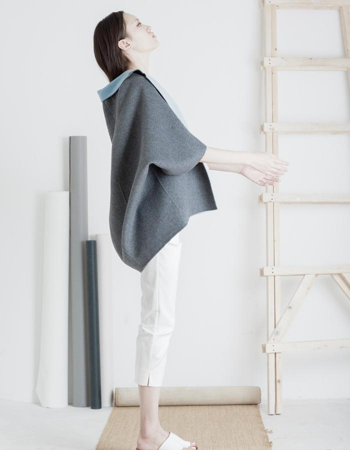 Mute by JL 2015 Spring double faced handmade cashmere coat