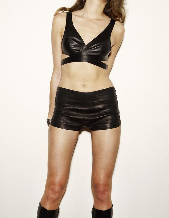 Black Leather Bra and Hot Pants by Dutch Leather Design