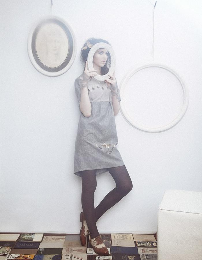 Grey embroidered dress front