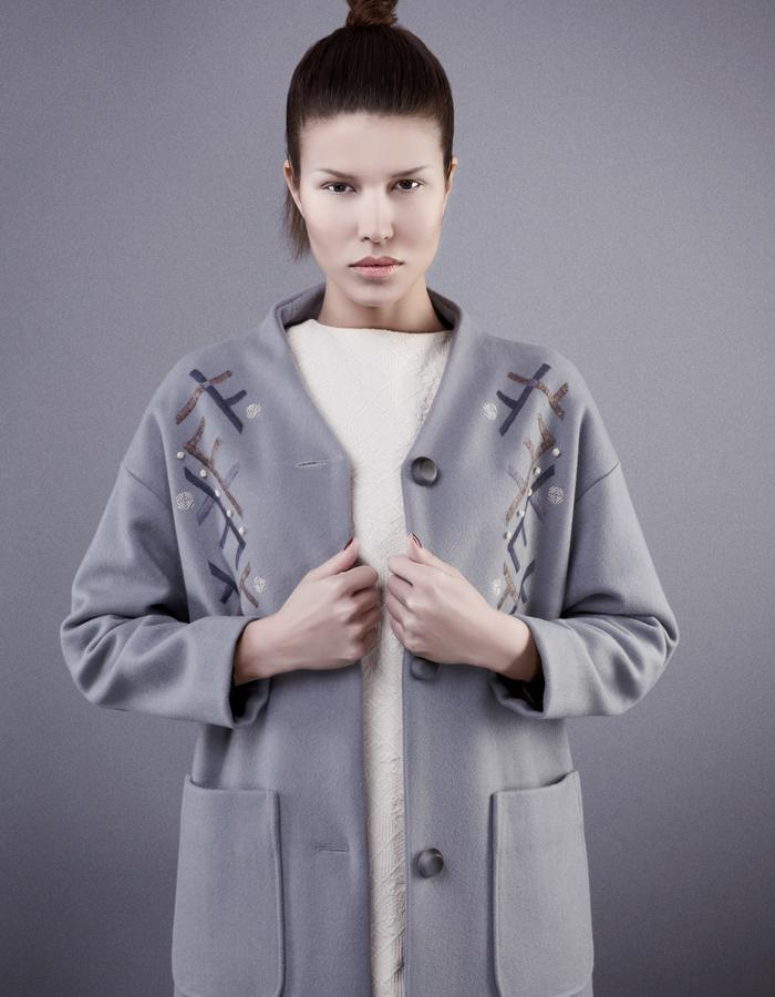 Embroidered grey coat