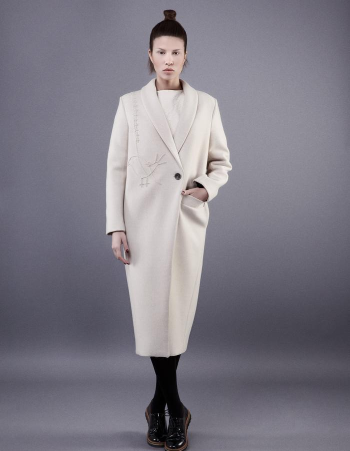 Embroidered ivory coat