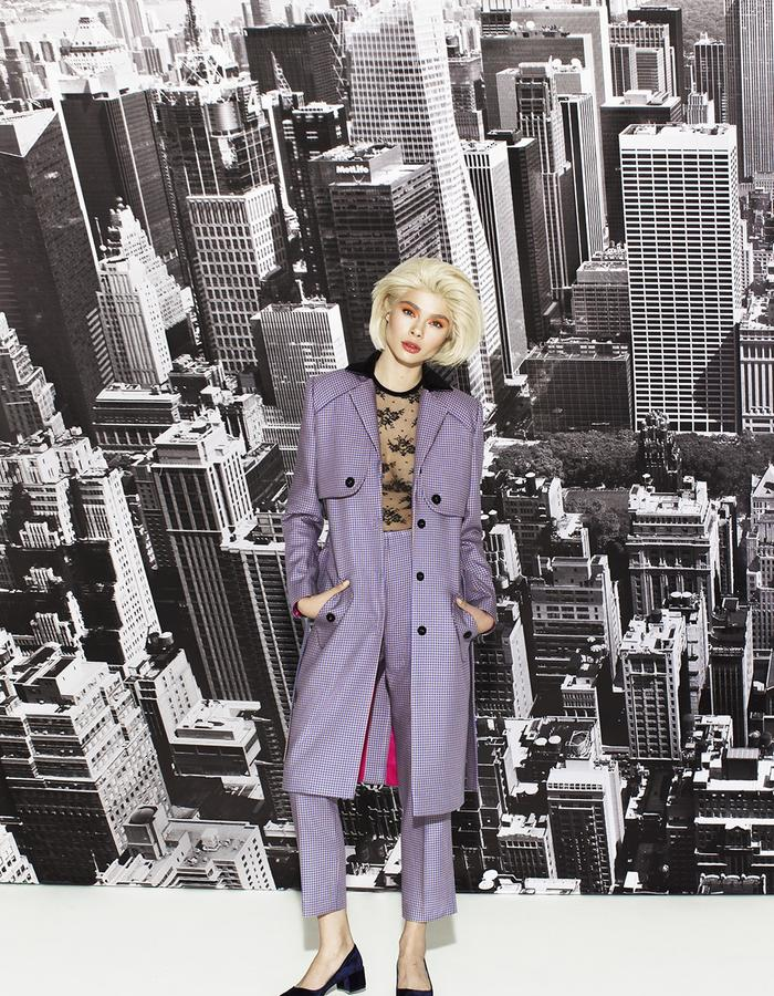 Silk trench and trousers