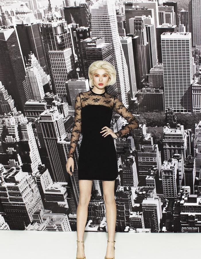 Angora crop dress/lace bodysuit