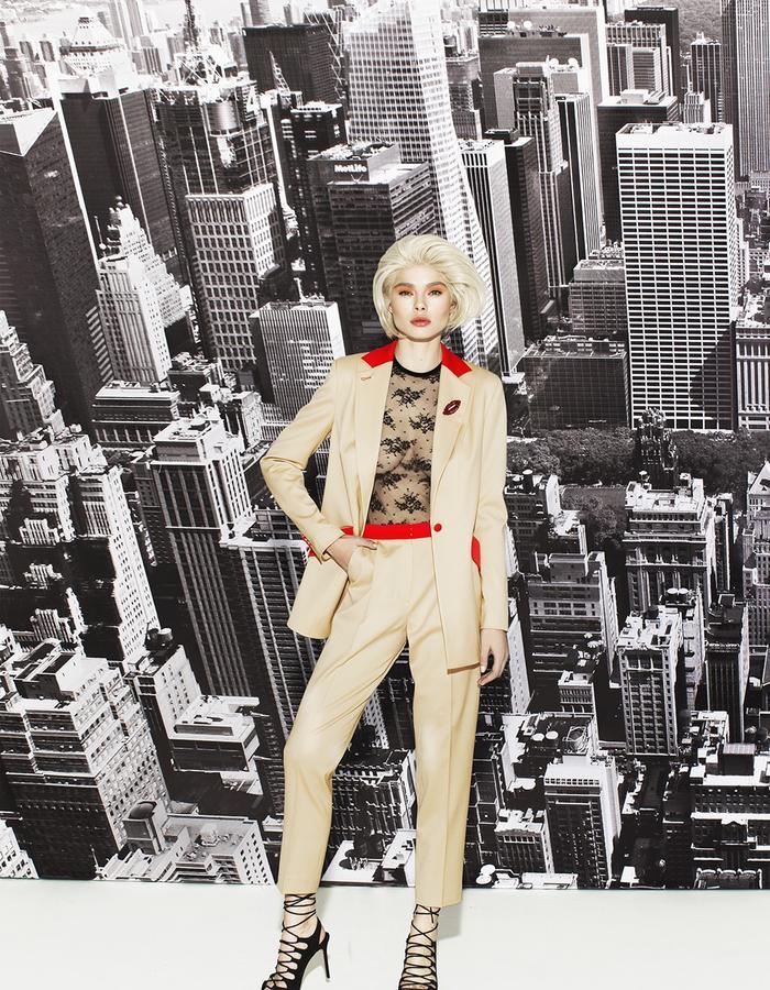 Beige and red woolen suit