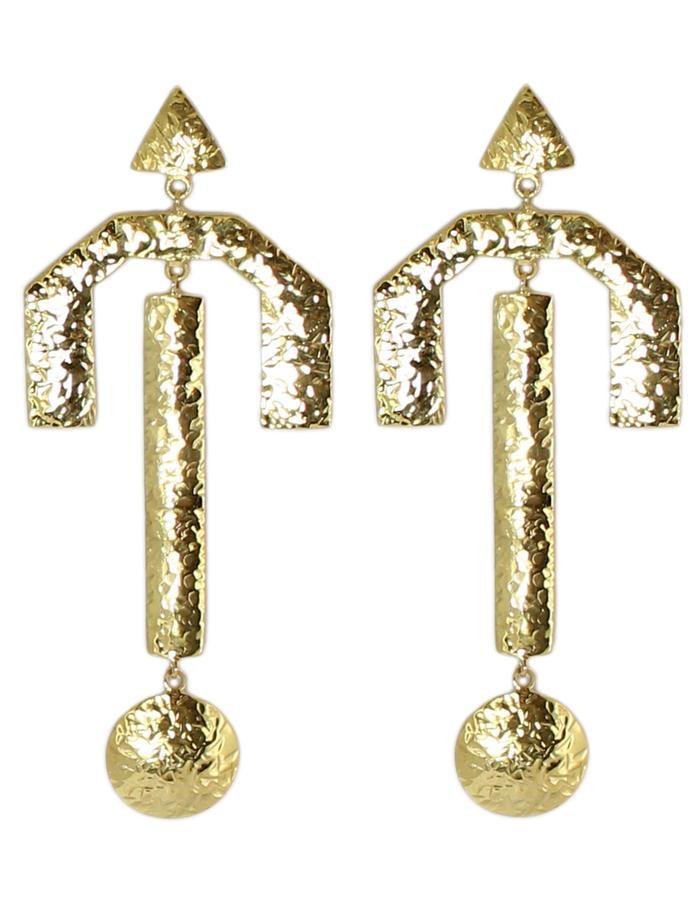 Gold Kuba earrings by Sollis jewellery