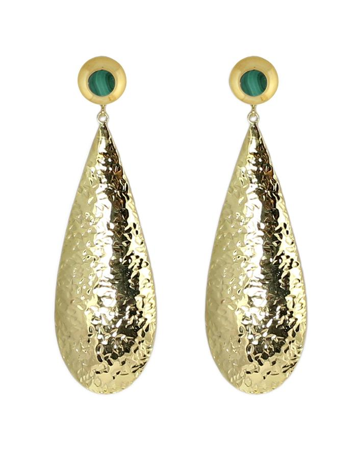 Gold and malachite Kogo earrings by Sollis jewellery