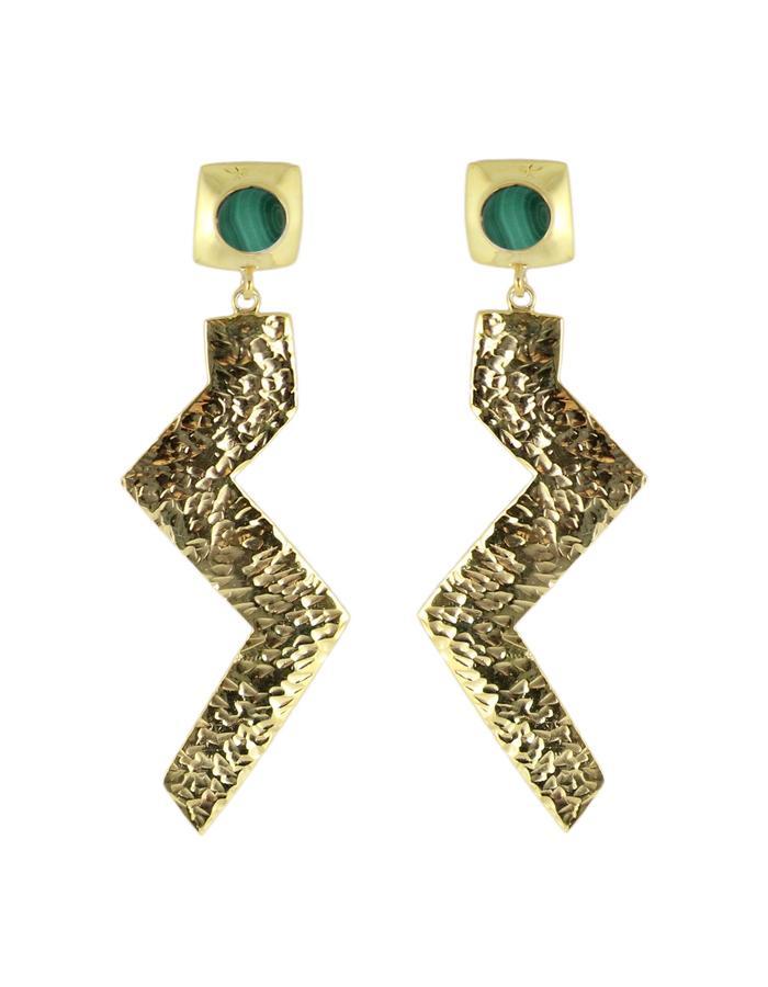 Gold and malachite Zulu Zig earrings by Sollis jewellery