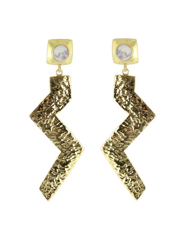 Gold and white howlite Zulu Zig earrings by Sollis jewellery