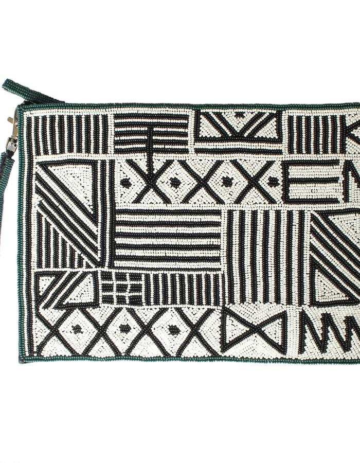 Mudcloth beaded clutch bag by Sollis Jewellery