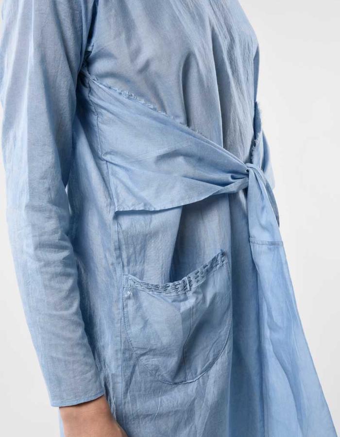 STILL garments indigo blue zero waste scarf dress tied front
