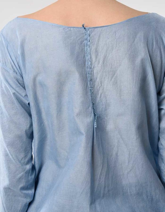 STILL garments indigo blue zero waste scarf dress detail embroidery