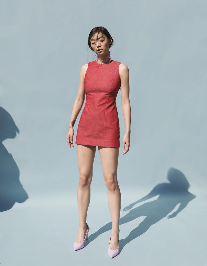 MARTINE JARLGAARD LONDON / Red Denim Armour Dress / SS16