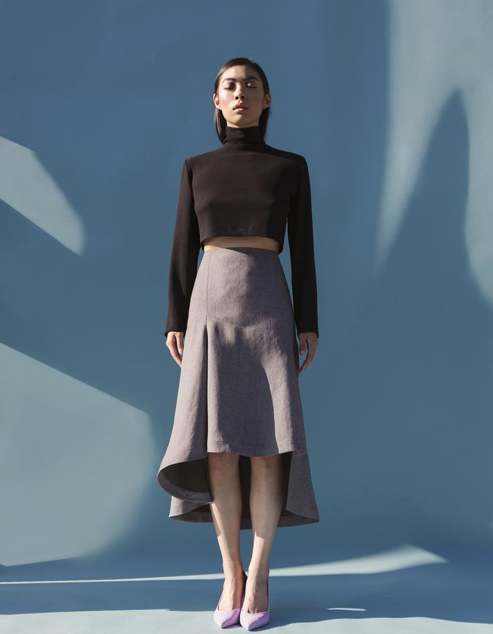 MARTINE JARLGAARD LONDON / Cropped Turlte Neck Top & Printed Sway Skirt / SS16