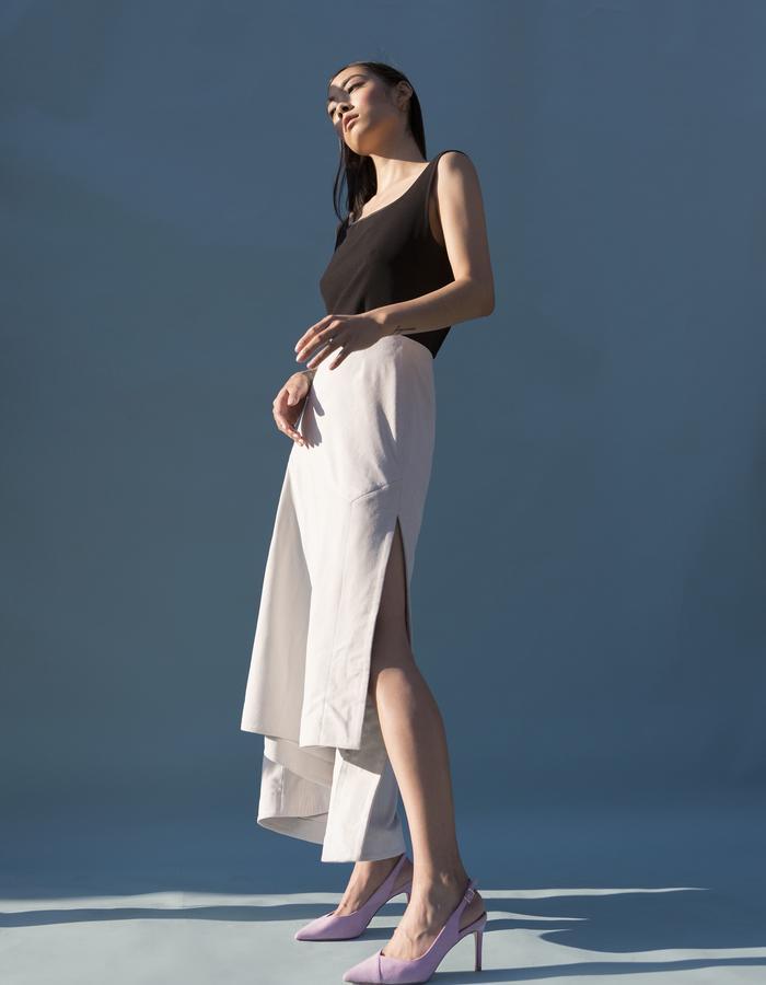 MARTINE JARLGAARD LONDON / Black Frame Top & Suede Skirt / SS16