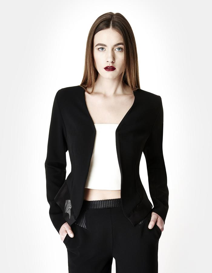 Sarah Bond Black Silk Organza and Crepe Blazer with Trousers Close Up