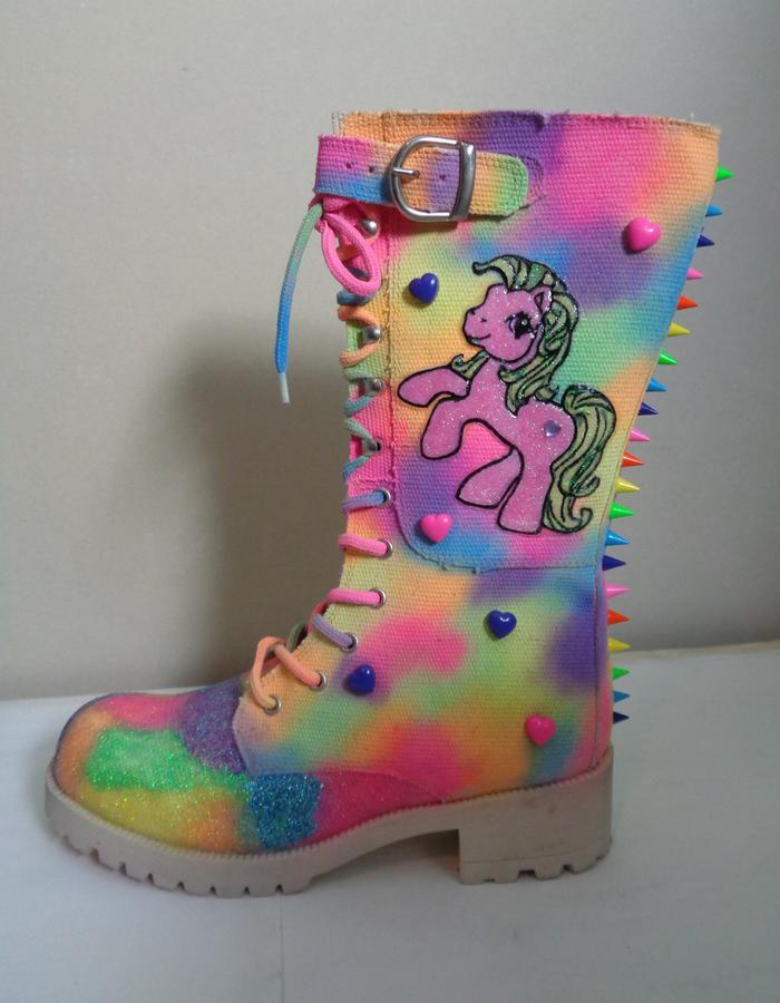 My little pony rainbow stud spike biker boots