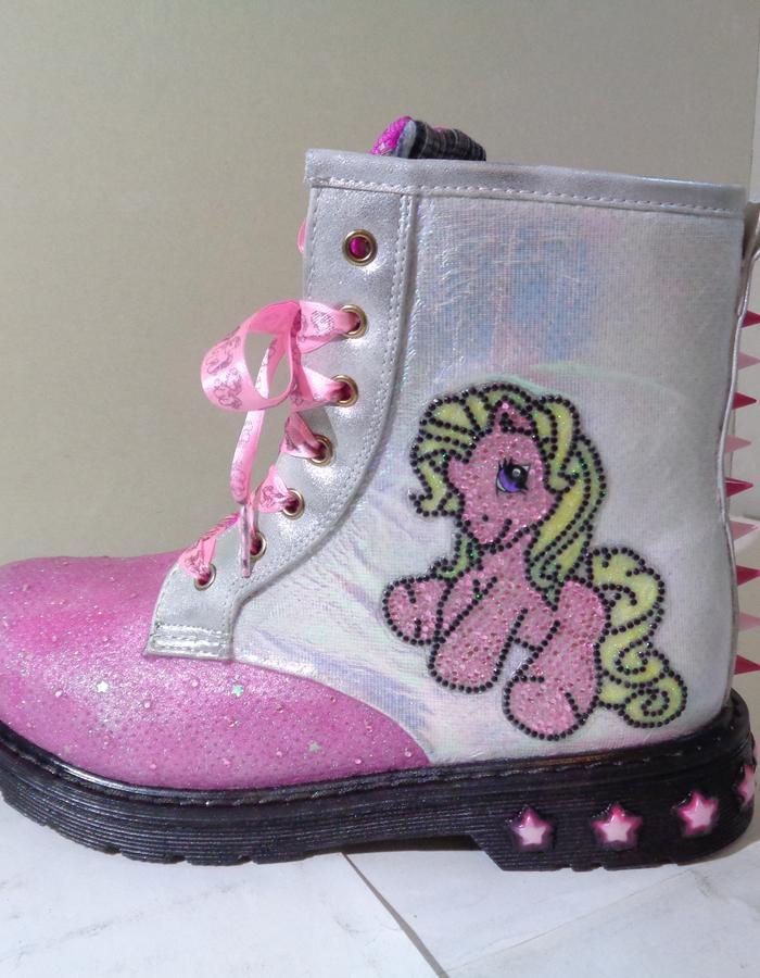 iridescent pink lace diamante my little pony biker boots