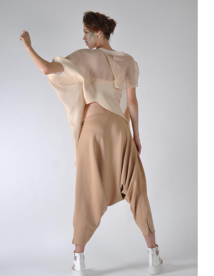 bird sporty sheer top and draped pant.
