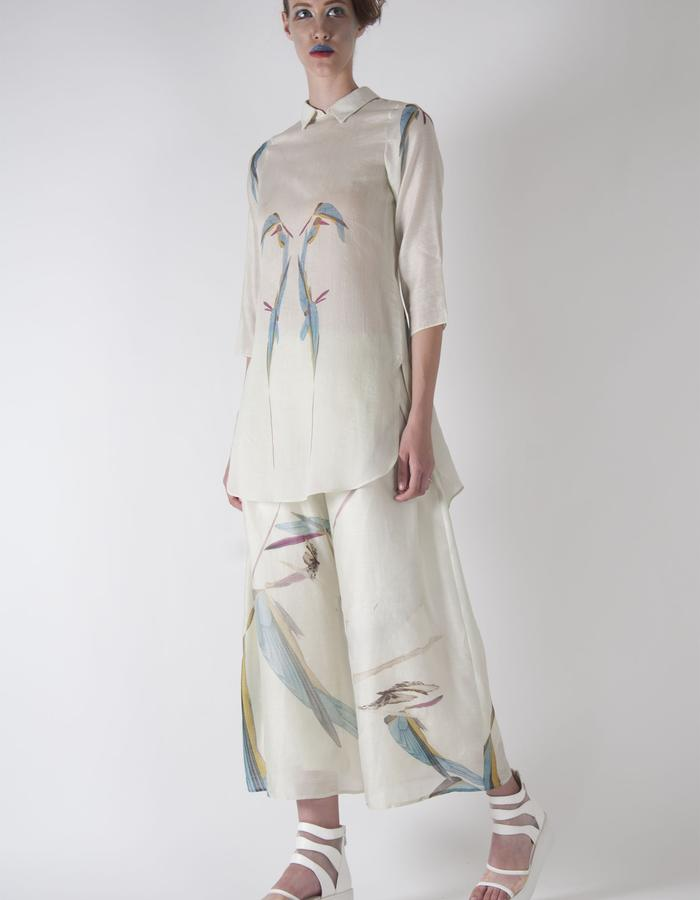 hand woven gaia bird print tunic shirt and wide pants.