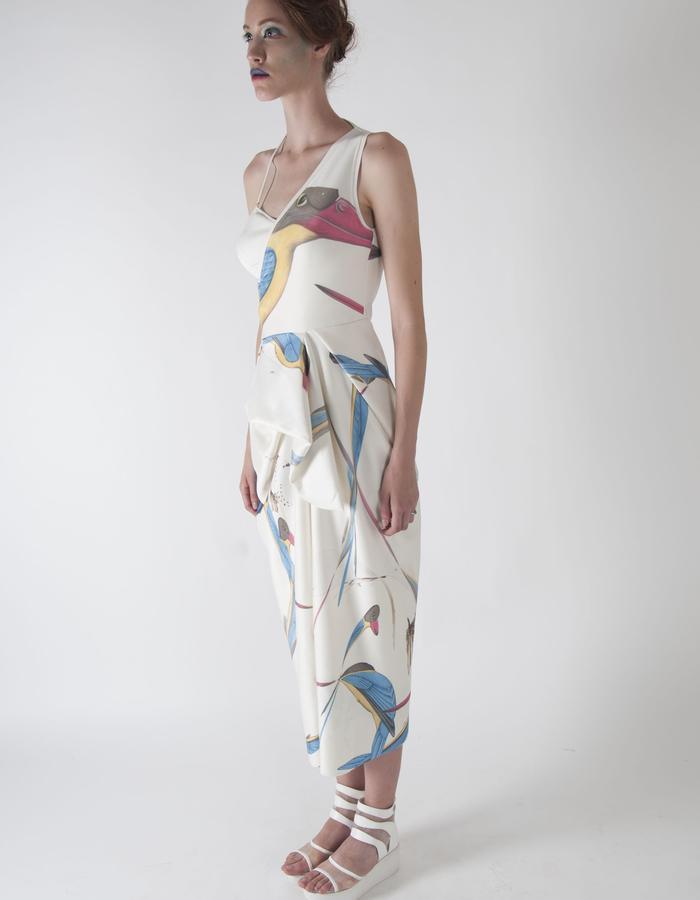 gaia bird print sporty one shoulder dress.