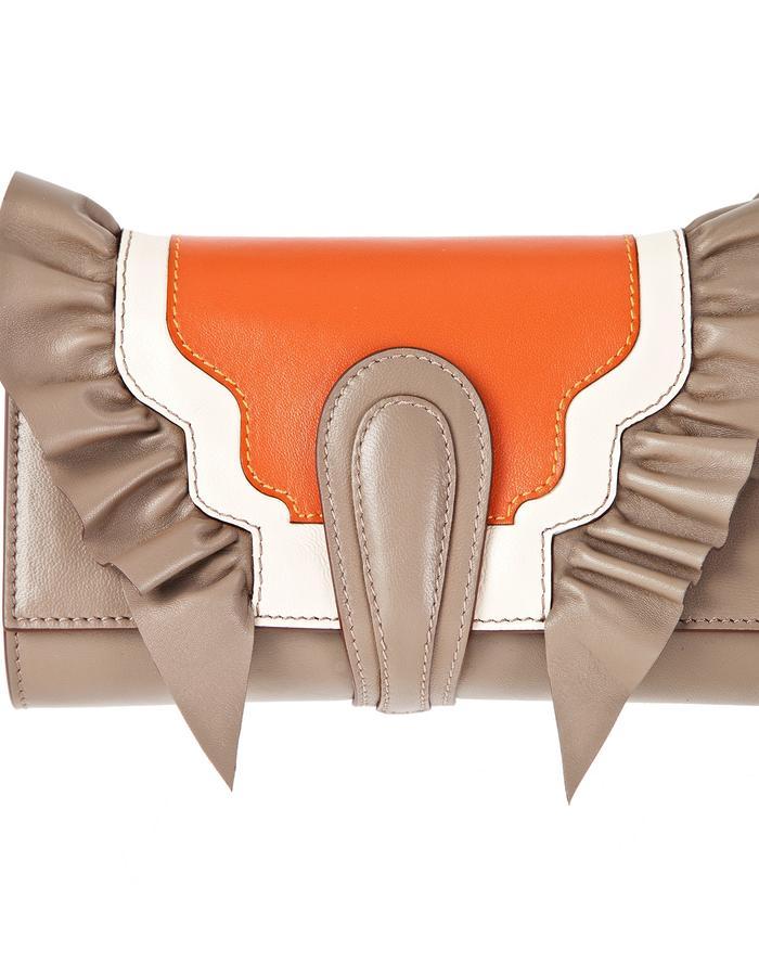 marie de la roche butterly clutch grey italian leather front 2