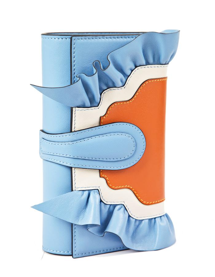 marie de la roche butterly clutch baby blue italian leather front