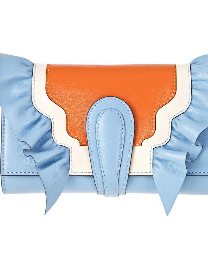 marie de la roche butterly clutch baby blue italian leather front2