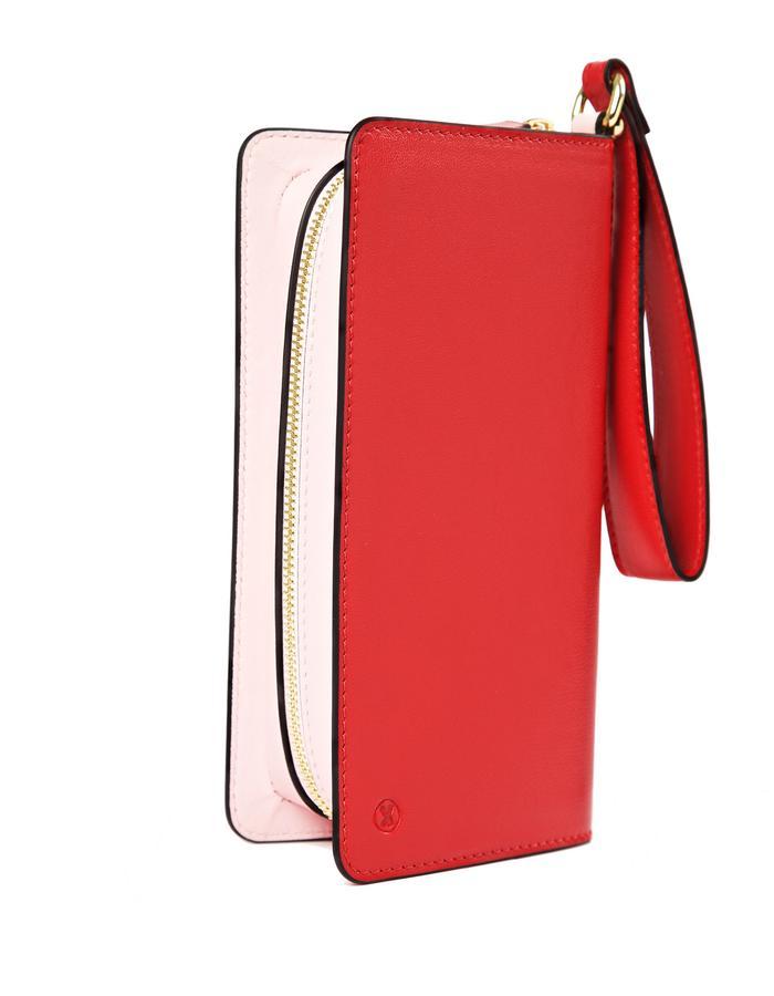 marie de la roche lamour clutch cerize red italian leather back