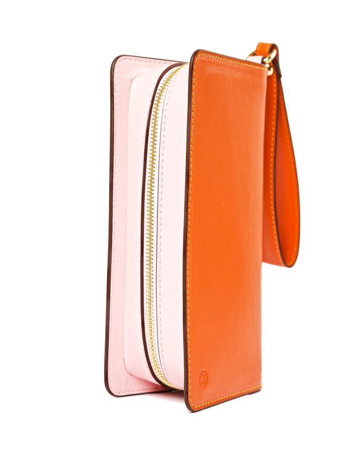 marie de la roche lamour orange mandarin italian leather back