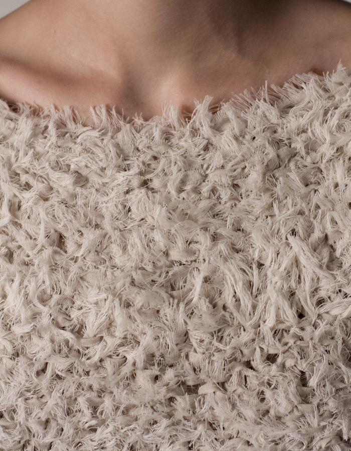 andrea bores, frayed linen knitted top