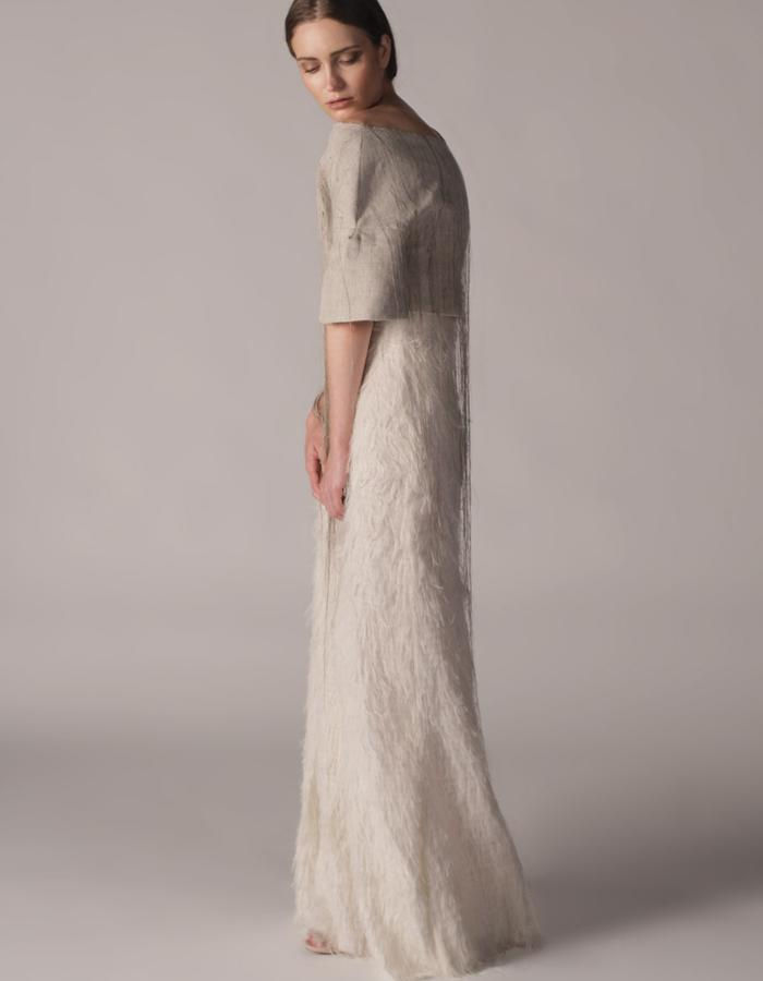 andrea bores, linen embroidered top and silk frayed skirt