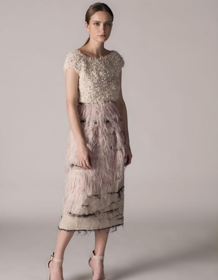 andrea bores, frayed linen knitted top and linen skirt embroidered with silk and acetate fiber