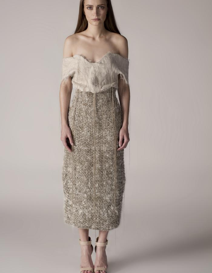 andrea bores, linen embroidered top and knitted skirt
