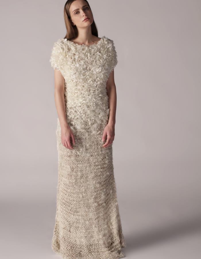 andrea bores, knitted dress with freayed silk and cotton thread