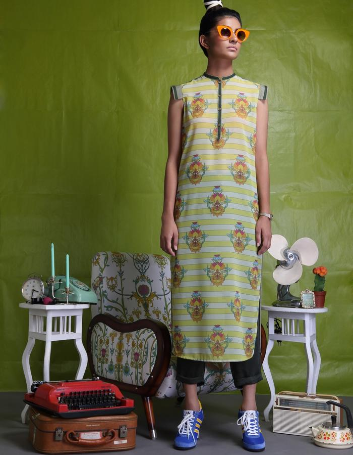 Georgette digitally printed long tunic with net back teamed with culottes
