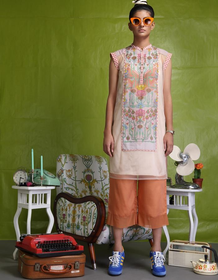 Digitally printed panelled tunic teamed with culottes