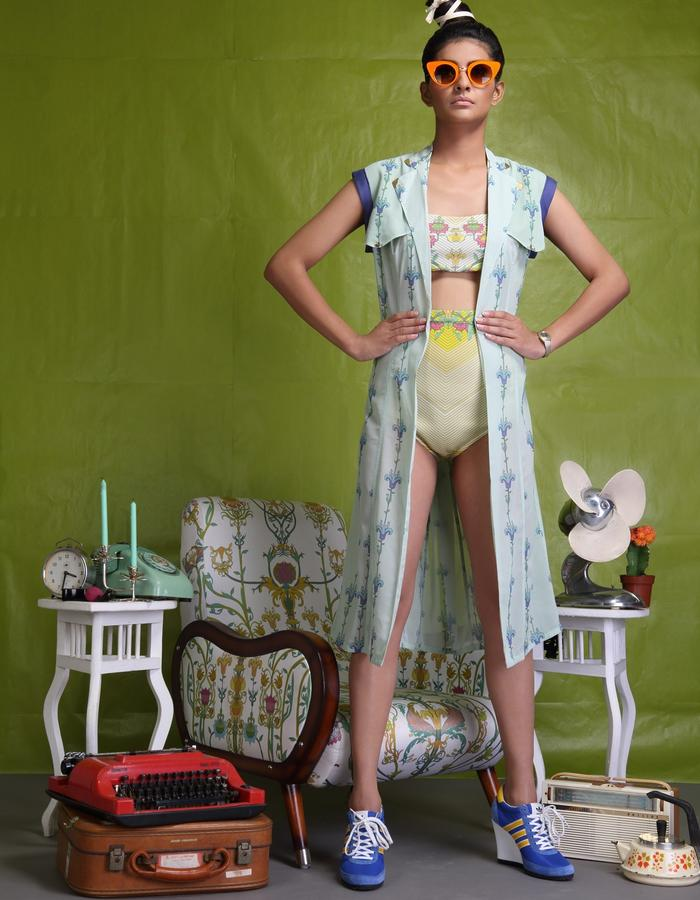 Digitally printed lycra two piece swimsuit teamed with digitally printed georgette duster