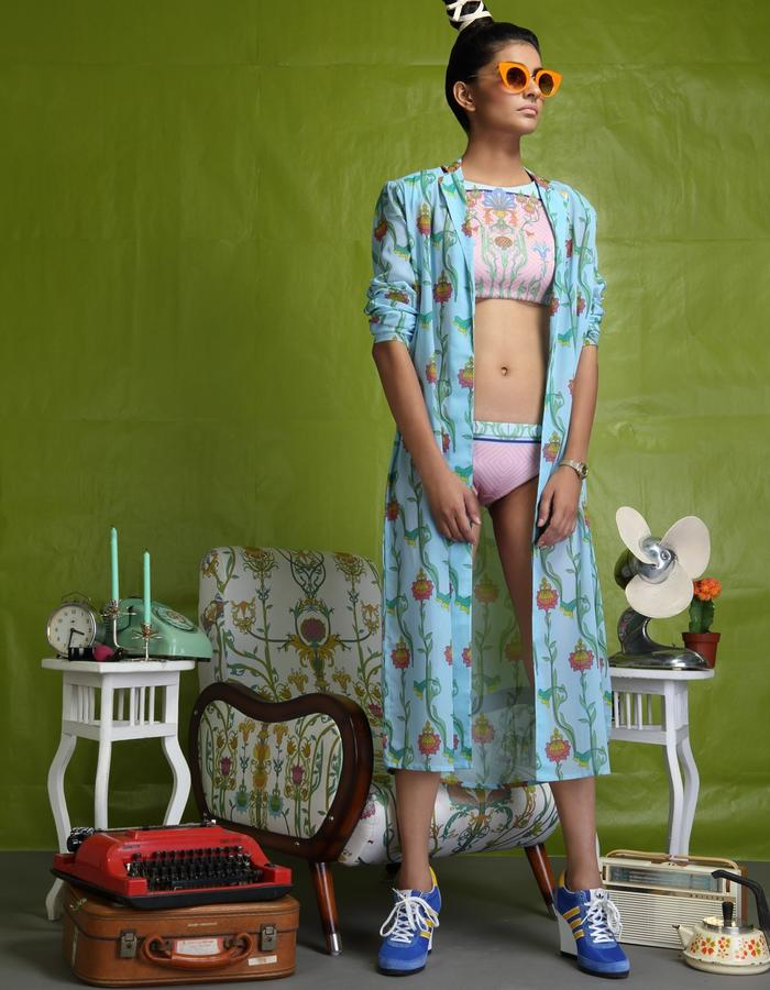 Digitally printed two piece neoprene swimsuit teamed with digitally printed georgette duster