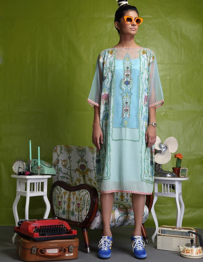 Net tunic with digitally printed patch on back and front