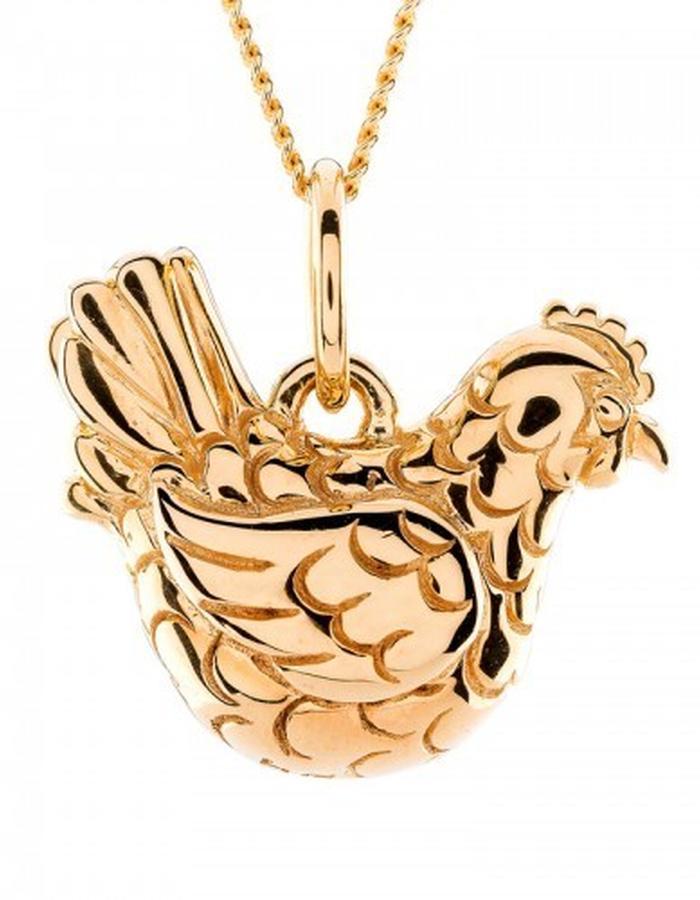 Golden hen pendant by Strange of London
