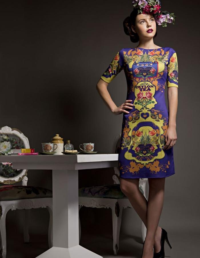 Neoprene digitally printed bodycon dress