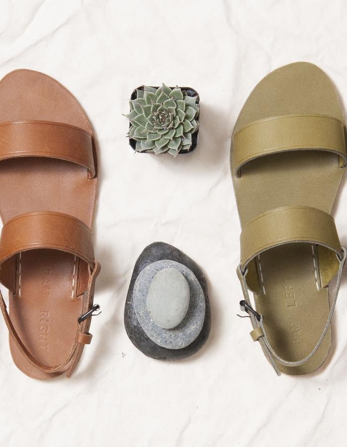 Tenor sandal in olive green and brown