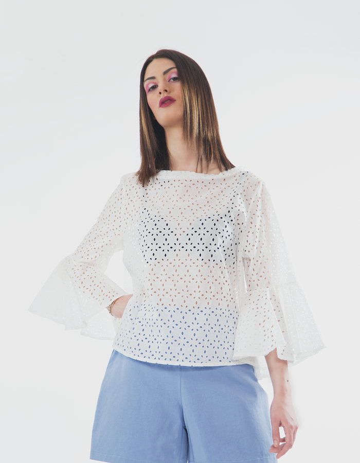 San gallo cotton top with sleeve frills, lavender cotton shorts.
